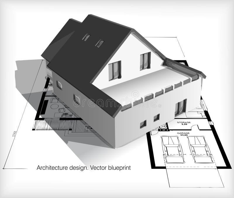Дом архитектуры модельный na górze светокопий иллюстрация вектора