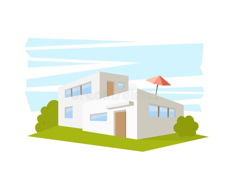 Дом архитектуры плоского стиля современный с зеленой лужайкой Чертеж вектора в взгляде перспективы бесплатная иллюстрация