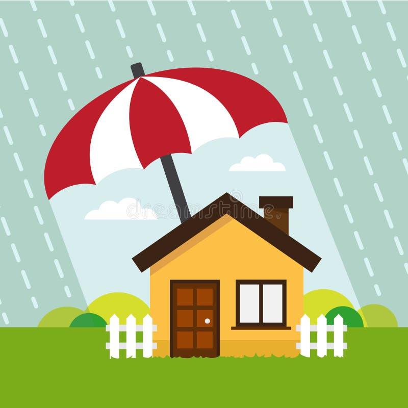 Дом вниз защищает зонтика иллюстрация штока