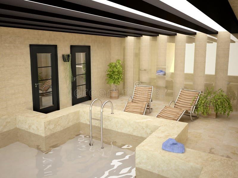дом внутри заплывания бассеина иллюстрация вектора