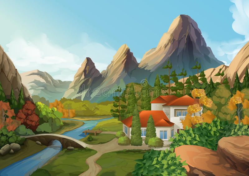 Дом в горах, ландшафт природы иллюстрация вектора