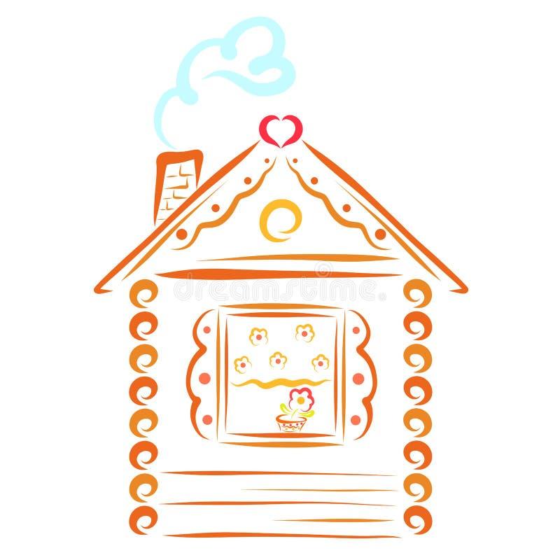 Дом в деревне с трубой и дым в форме сердца бесплатная иллюстрация