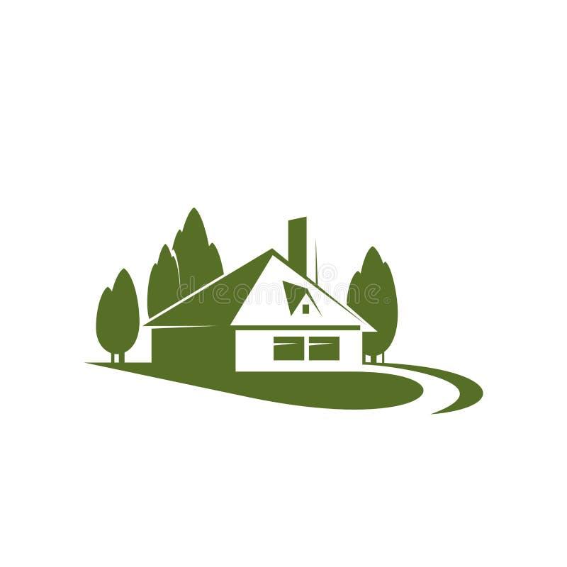 Дом в зеленом значке вектора Forest Park бесплатная иллюстрация