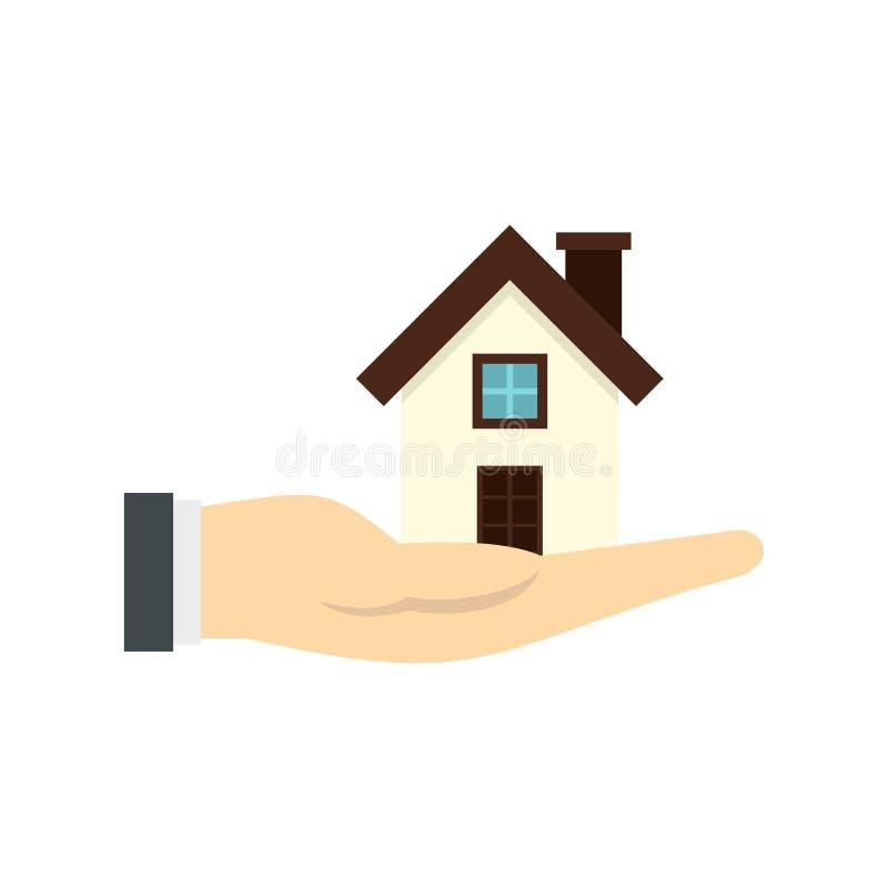 Дом в значке руки, плоском стиле иллюстрация штока