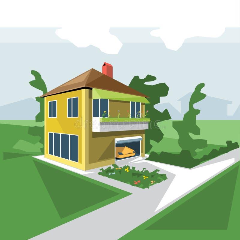 Дом в 2 полах, взгляд от перспективы иллюстрация штока