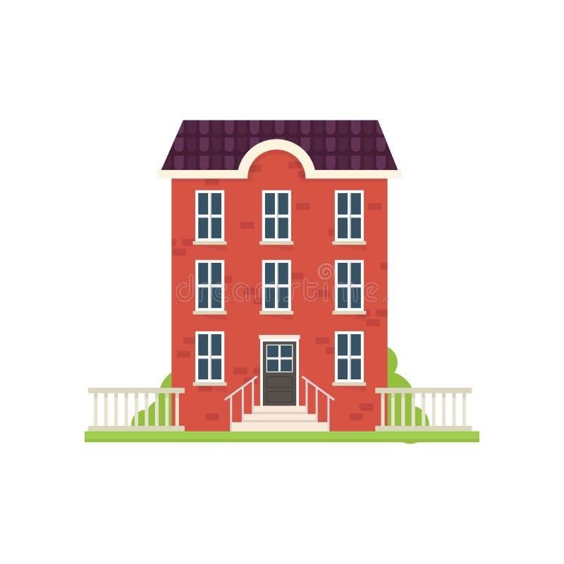 Дом города красного кирпича с лестницами зеленой травы иллюстрация штока