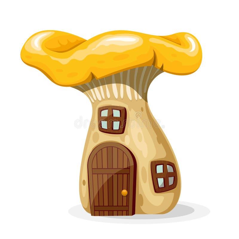 Дом гриба с дверью и окна vector иллюстрация иллюстрация штока