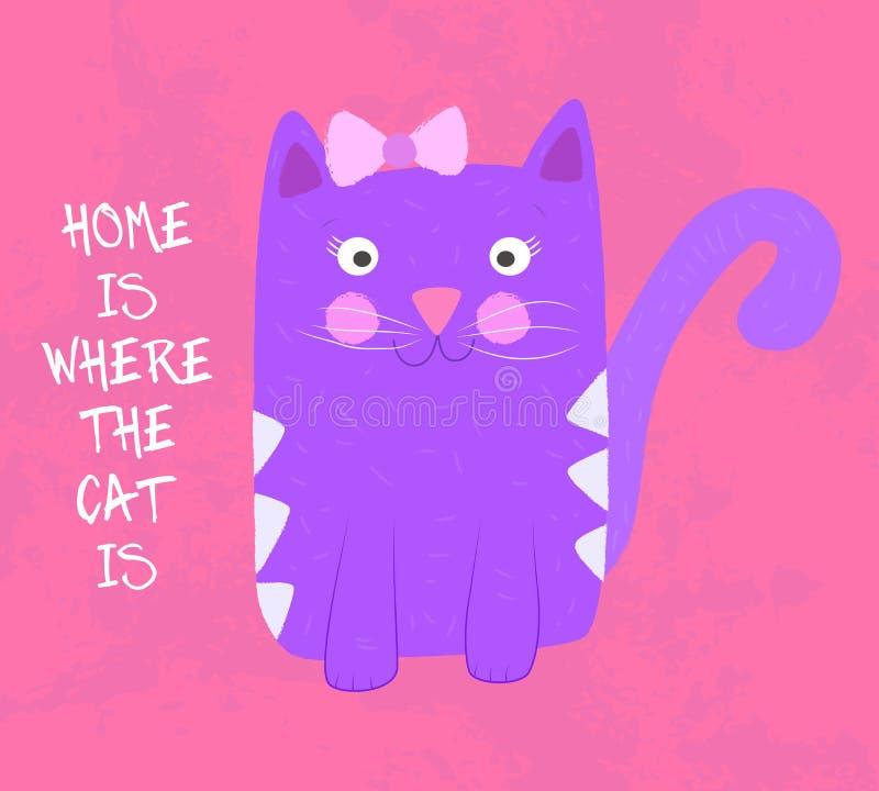 Дом где кот иллюстрация штока