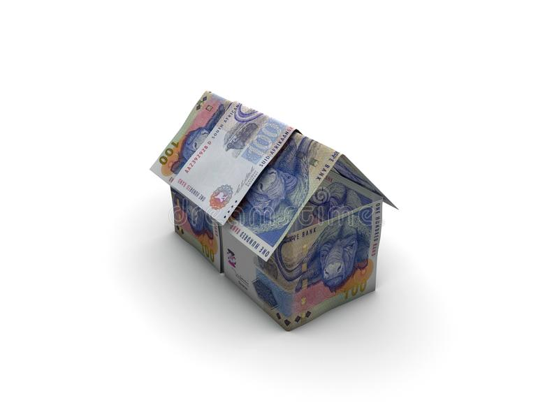 Дом денег сделанный R100 стоковое изображение