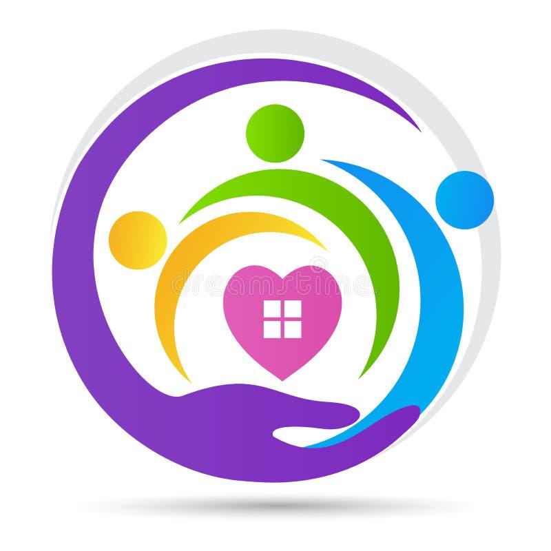 Дом для логотипа заботы людей надежды доверия влюбленности призрения старшего иллюстрация штока