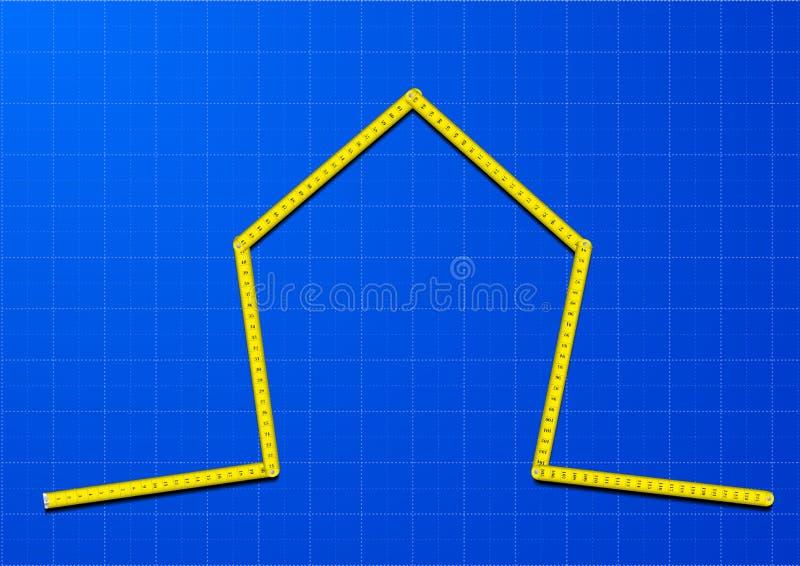 Дом ленты измерения иллюстрация вектора