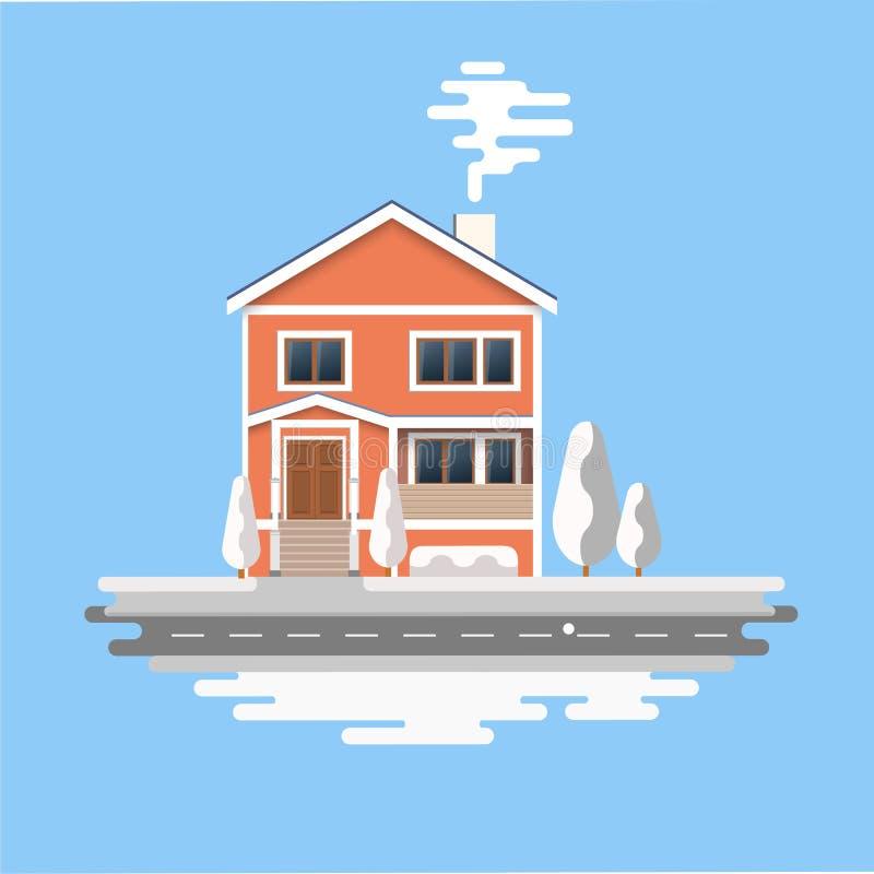 Дом зимы изображение оранжевых домов рождества кирпича покрытых с снегом Предпосылка зимы с домами шаржа бесплатная иллюстрация