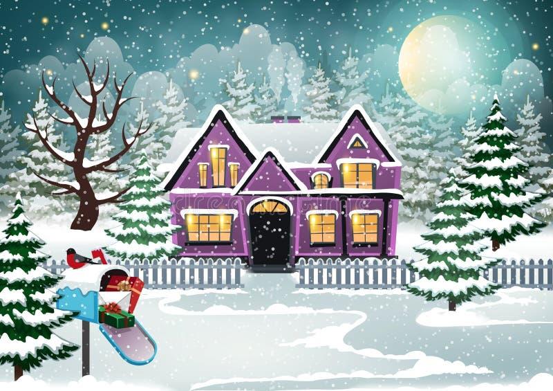 Дом зимы иллюстрация штока
