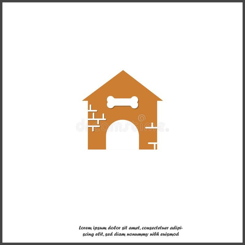 Дом значка вектора с косточкой для собак на белой изолированной предпосылке r иллюстрация штока
