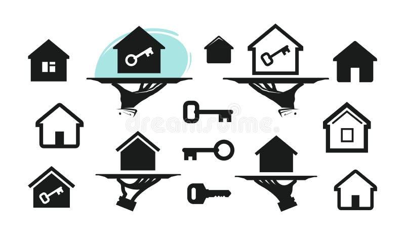 Дом, значки дома установленные Здание, недвижимость, ключевой символ также вектор иллюстрации притяжки corel иллюстрация штока
