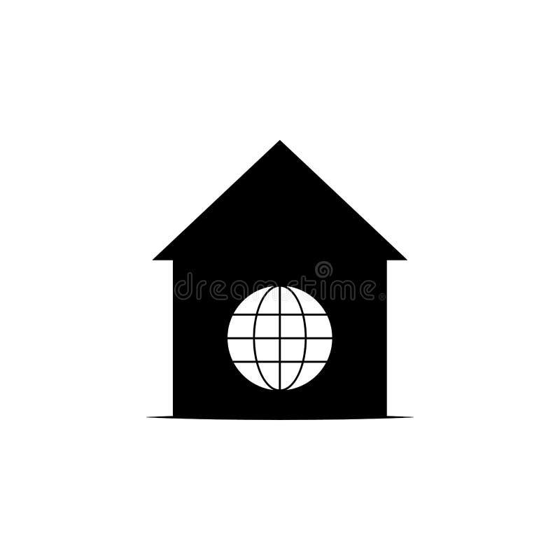Дом, значок мира на белой предпосылке Смогите быть использовано для сети, логотипа, мобильного приложения, UI UX иллюстрация штока