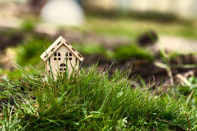 Дом игрушки в зеленой траве стоковые фотографии rf
