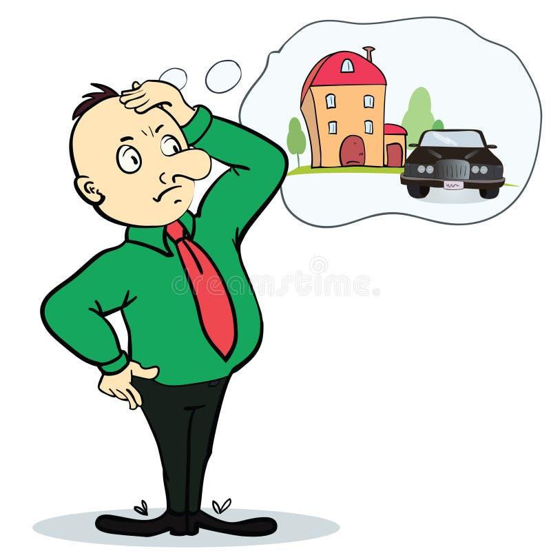 Дом и автомобиль человека мечтая Концепция для кредита или иллюстрация штока