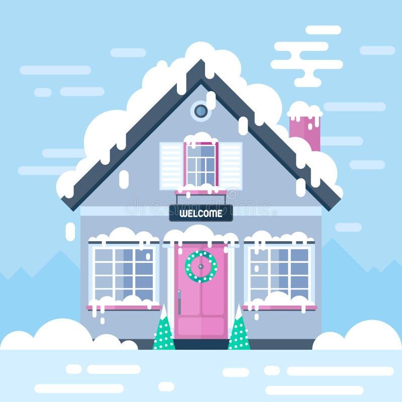 Дом и ландшафты зимнего дня Иллюстрация вектора запаса плоская иллюстрация вектора