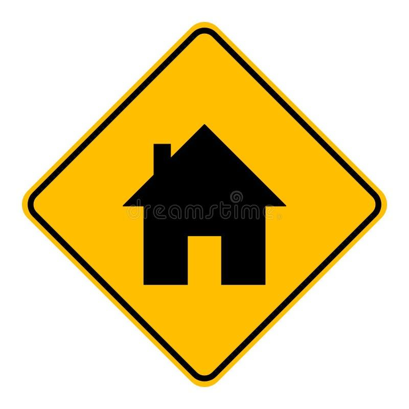 Дом и дорожный знак иллюстрация штока