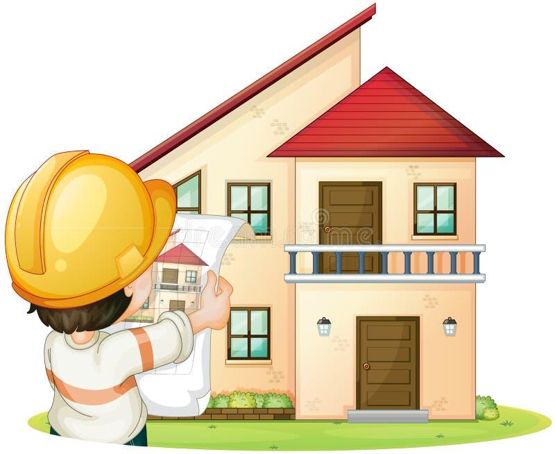 Дом и инженер иллюстрация штока