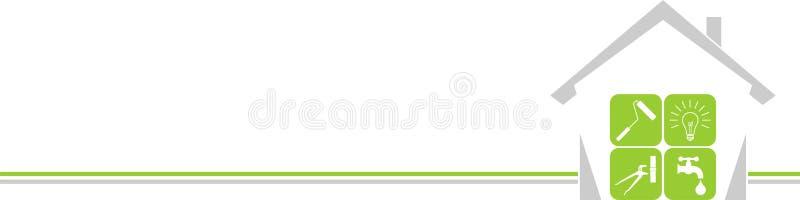 Дом и инструменты, привратники и предпосылка инструментов иллюстрация штока
