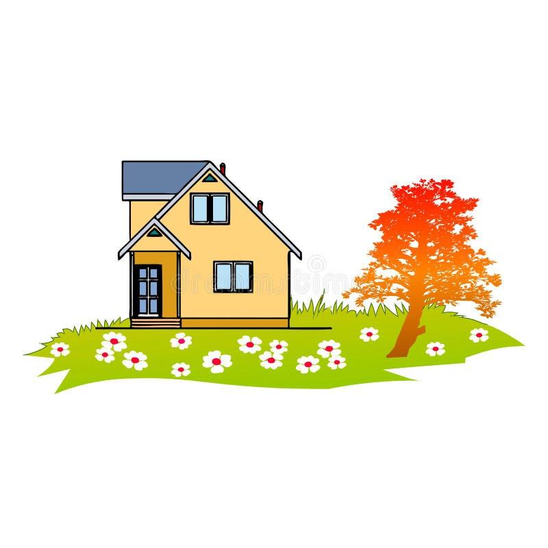 Дом и сад иллюстрация штока