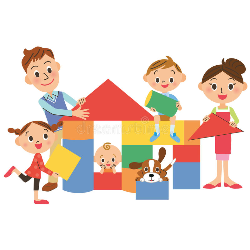 Дом и семья иллюстрация штока