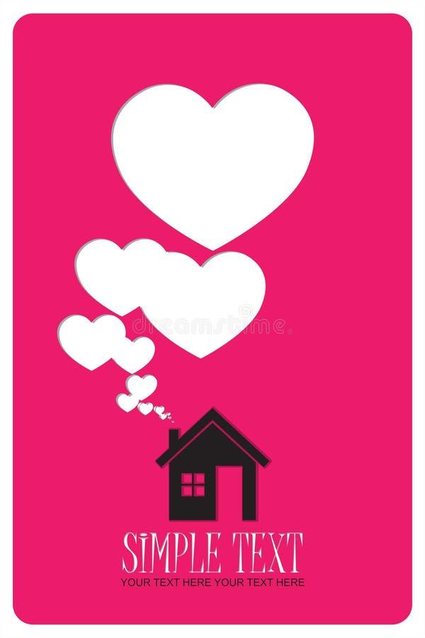 Дом и сердца вместо дыма. бесплатная иллюстрация