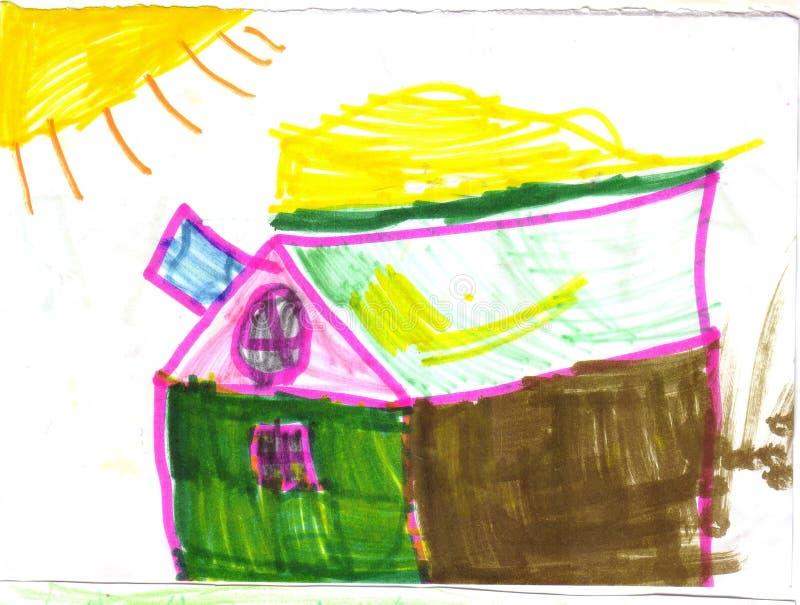 Дом и солнце ребенка рисуя красочный иллюстрация штока