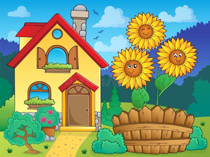 Дом и цветки 1 иллюстрация вектора