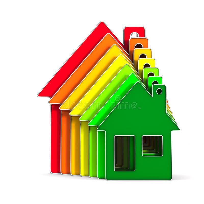 дом и энергосберегающее на белой предпосылке Изолированное illustr 3d иллюстрация вектора