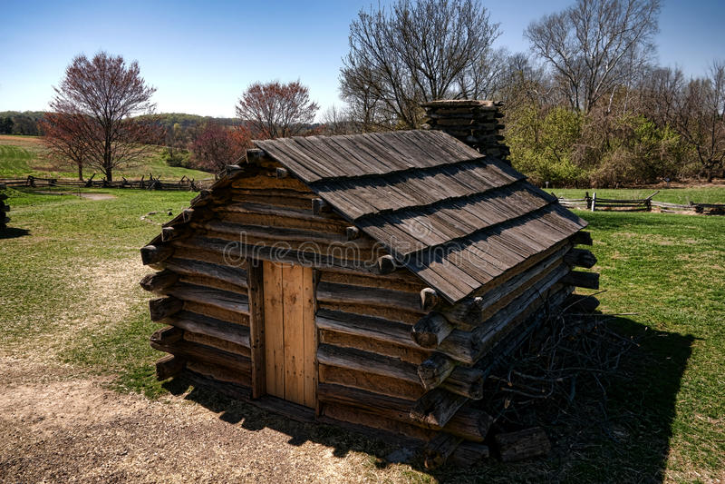 Дом кабины разбивки лагеря солдата деревянный на кузнице долины стоковая фотография