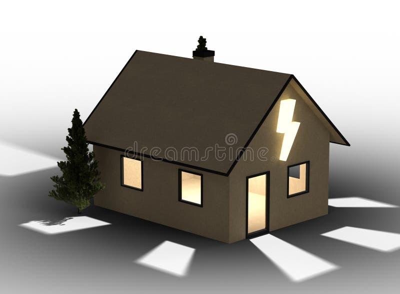 Дом картона Qlowing с внезапным символом белизна изолированная предпосылкой иллюстрация штока