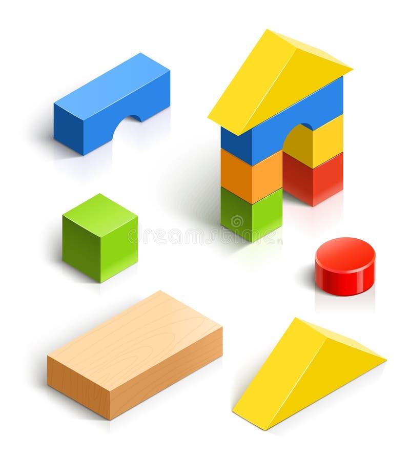 Дом кирпича. деревянный комплект игрушки иллюстрация вектора