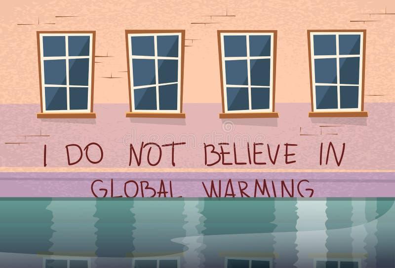 Дом концепции глобального потепления под потоком окна воды иллюстрация вектора