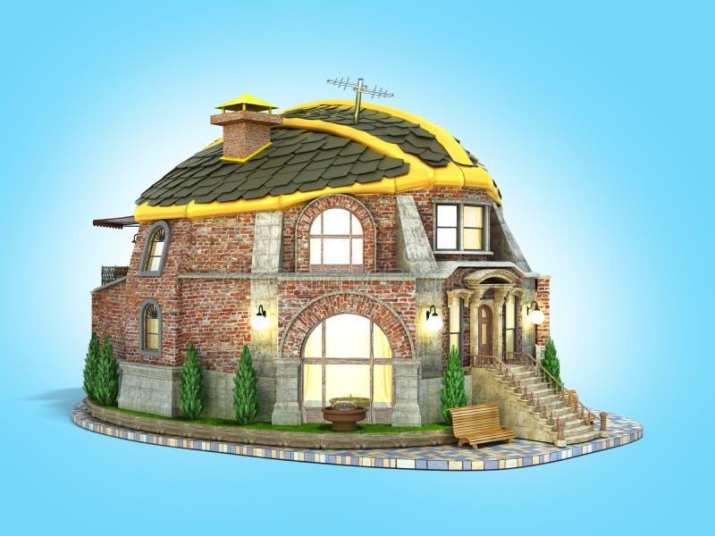 Дом концепции конструкции в форме шлема 3d конструкции представить на голубом градиенте иллюстрация штока