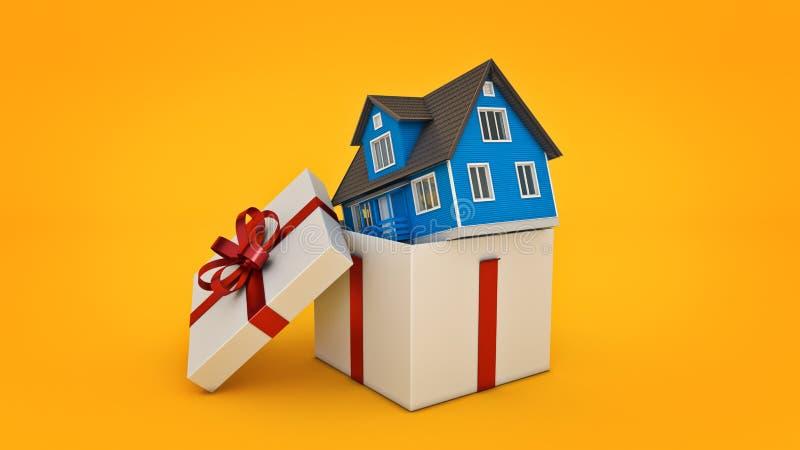 Дом Концепция подарочной коробки бесплатная иллюстрация