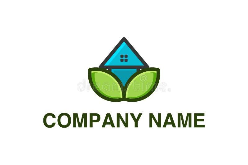 Дом, логотип домашнего ухода конструирует воодушевленность изолированный на белой предпосылке иллюстрация вектора