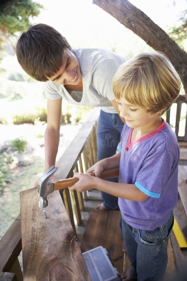 Дом на дереве здания подростка и брата совместно стоковые фото
