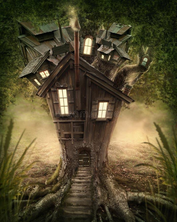 Дом на дереве фантазии бесплатная иллюстрация
