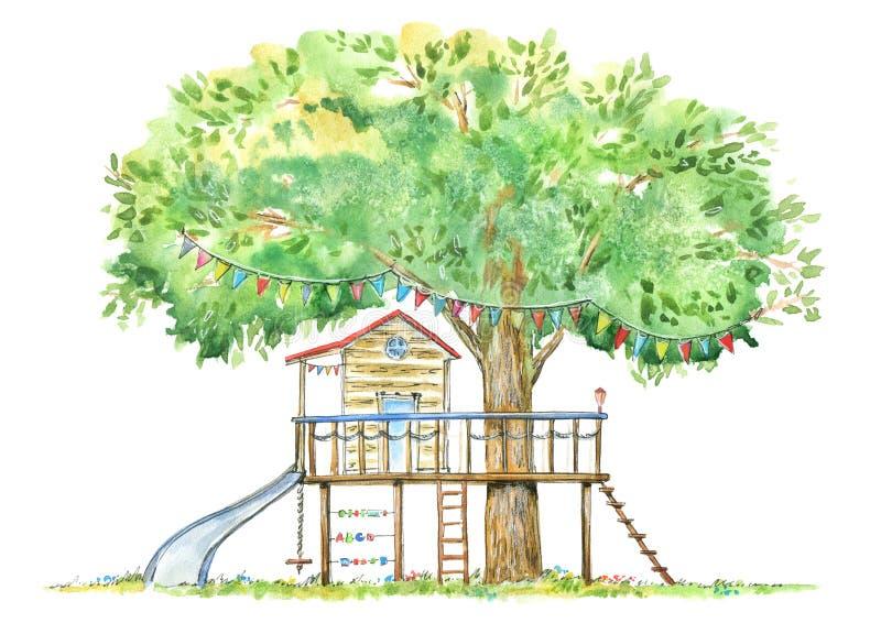 Дом на дереве для детей иллюстрация штока