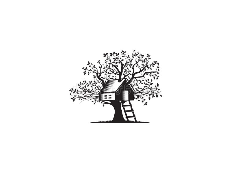 Дом на дереве иллюстрация вектора
