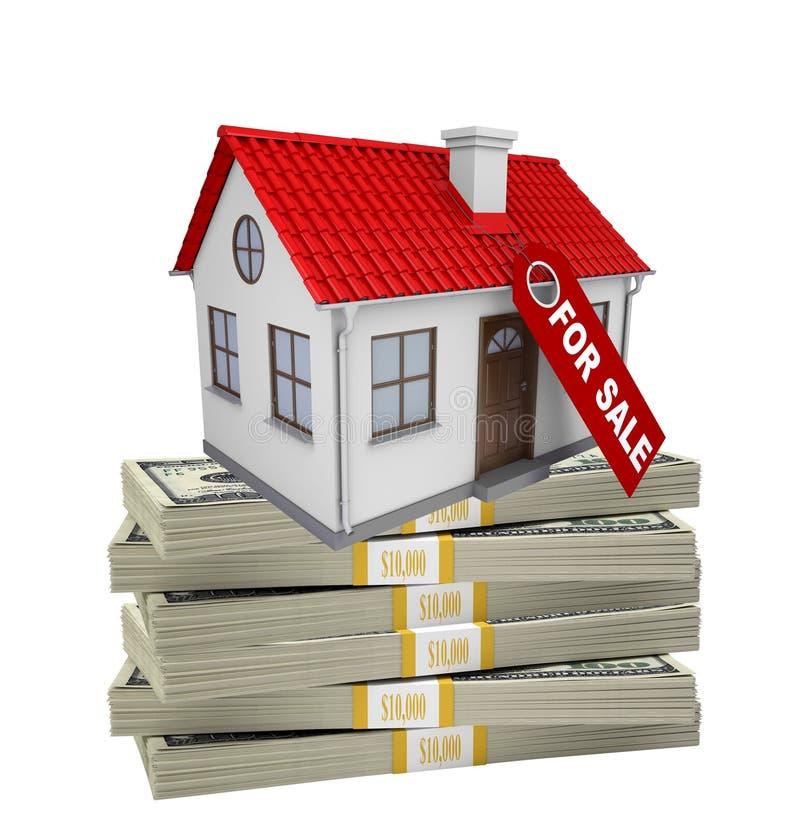 Дом на куче денег иллюстрация вектора