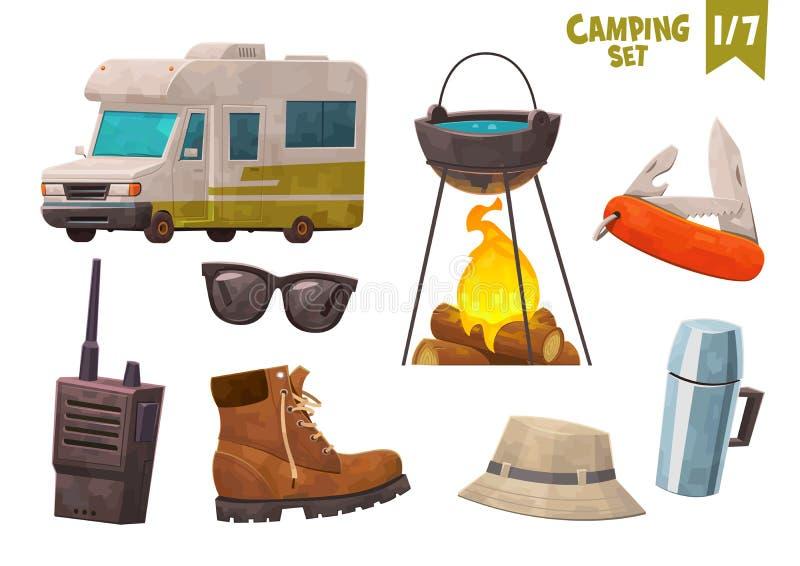 Дом на наборе ножа солнечных очков звукового кино walkie ботинка бутылки thermos колес располагаясь лагерем бесплатная иллюстрация