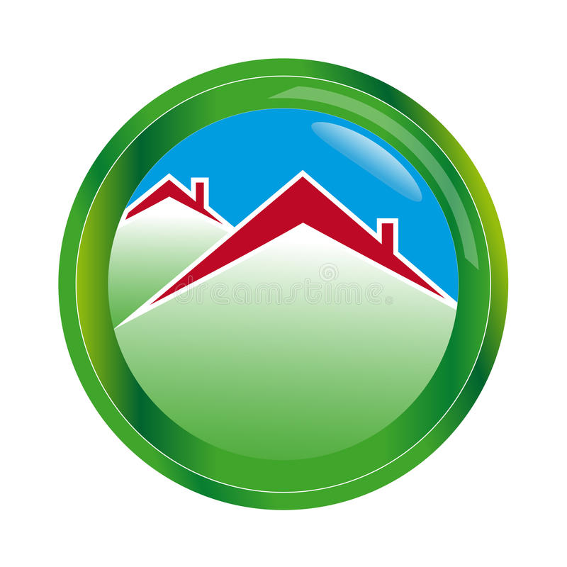 Дом логотипа абстрактный в сфере стоковое изображение