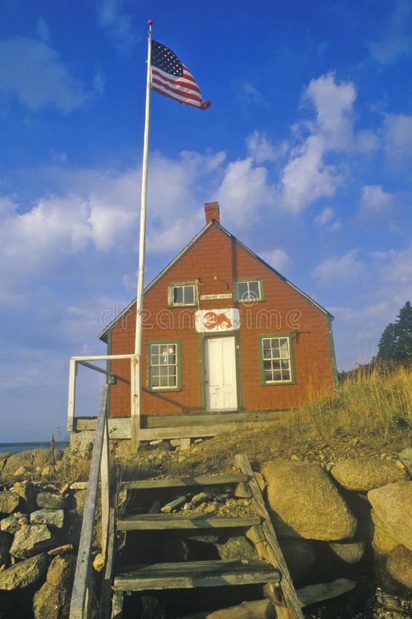 Дом омара на крае залива Penobscot в Stonington Я в осени стоковая фотография rf