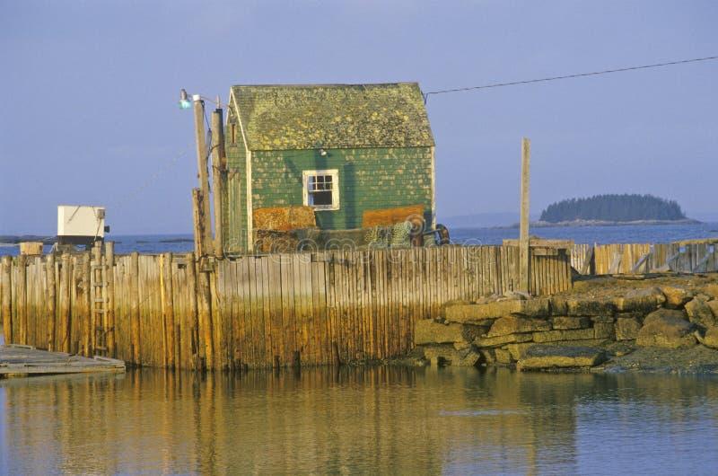 Дом омара на крае залива Penobscot в Stonington Я в осени стоковое фото rf