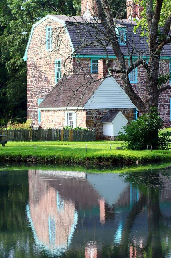 Дом отражен в пруде на этот спокойный день стоковое фото rf