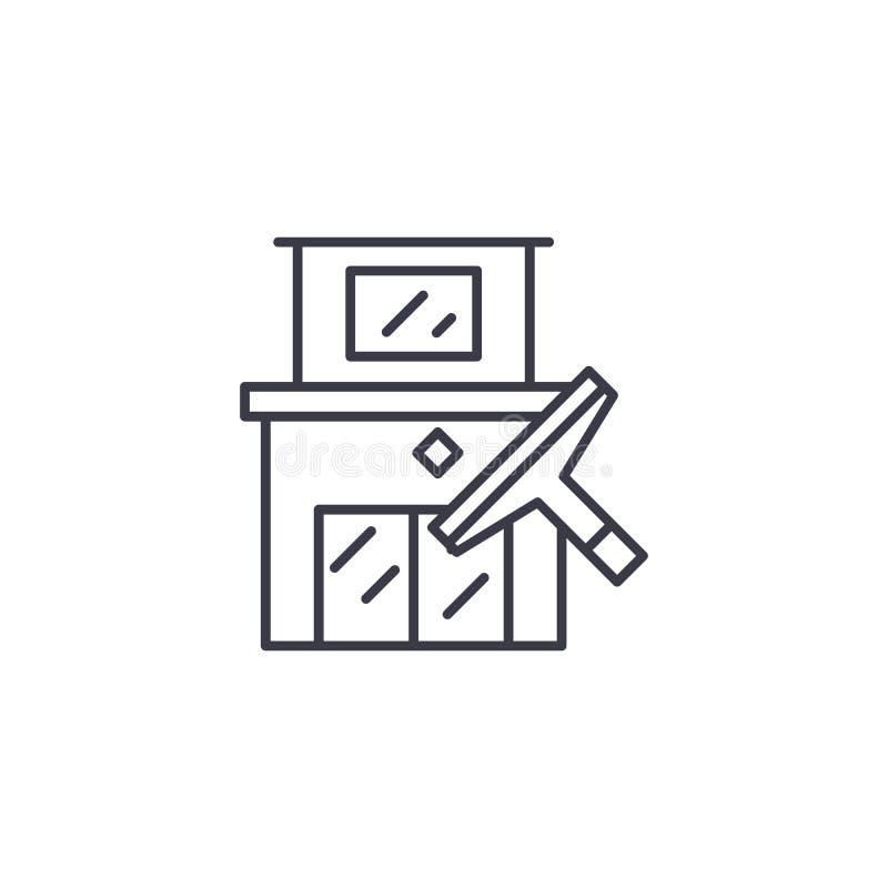 Дом очищая линейную концепцию значка Расквартируйте линию знак чистки вектора, символ, иллюстрацию бесплатная иллюстрация